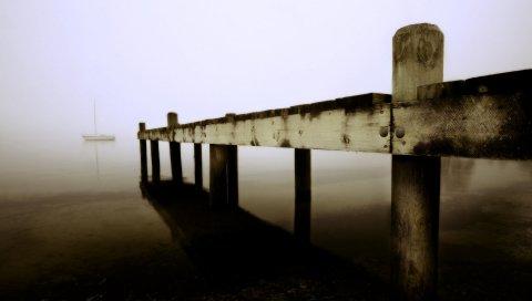 Пирс, доски, море, лодка, туман