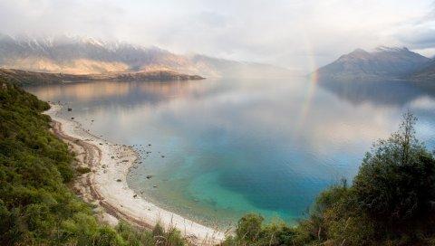 Озеро, горы, побережье, радуга, после дождя