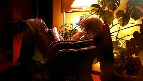 Мальчик, книга, аниме, вечер, стул