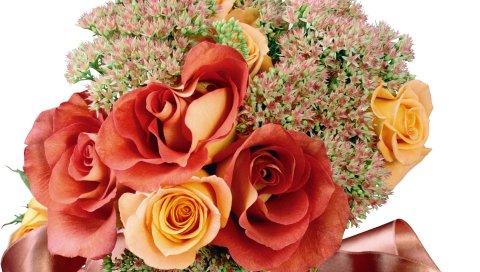 Розы, цветы, букет, лента