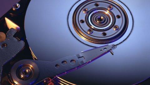 Жесткий диск, механизм, свет, сталь, серый