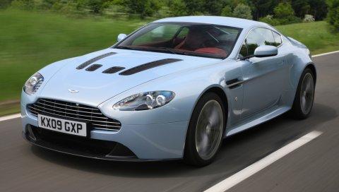 Aston martin, v12, zagato, 2009, вид спереди, металлик синий, скорость, стиль, автомобили, природа