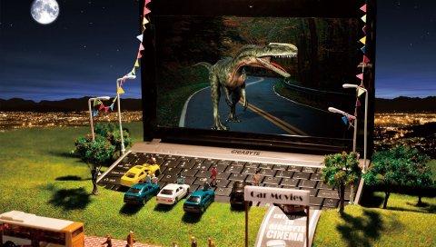Динозавр, ноутбук, фильмы, автомобили, автобус