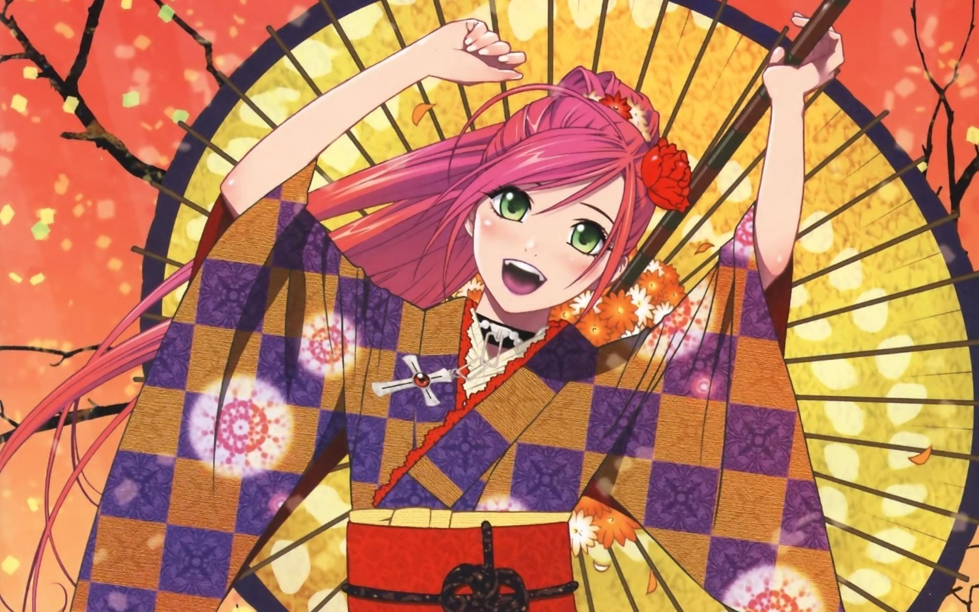 Картинки Девушка, радость, кимоно, веер, пистолет фото и обои на рабочий стол
