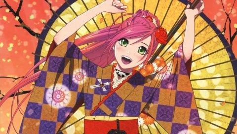 Девушка, радость, кимоно, веер, пистолет
