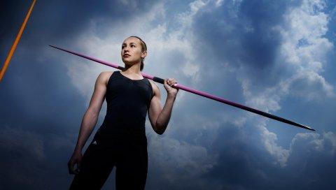 Jessica ennis, легкая атлетика, полюс, небо, спорт
