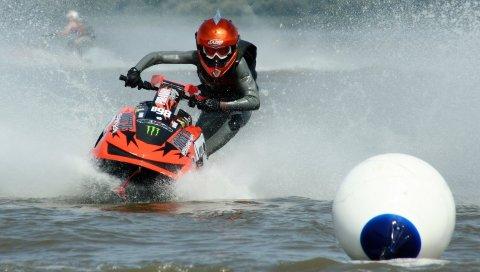 Вода, спрей, спорт, pwc, мяч, шлем