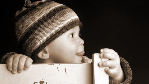 Ребенок, ребенок, любопытство, черный белый, кепка