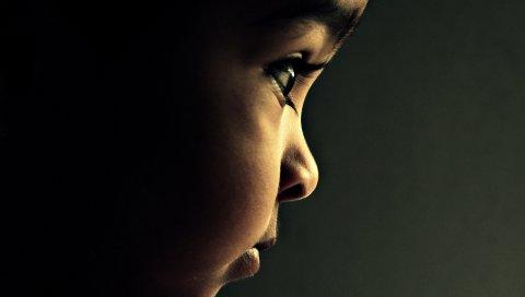Ребенок, глаза, профиль, тень, ресницы