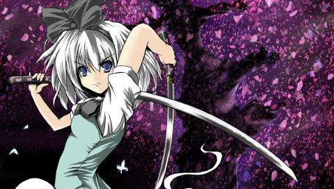 Девушка, блондинка, мечи, дерево, лепестки