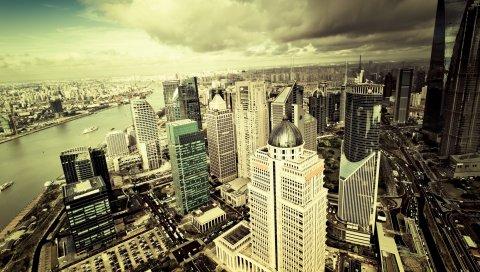 Lujiazui, Китай, небоскребы, вид сверху