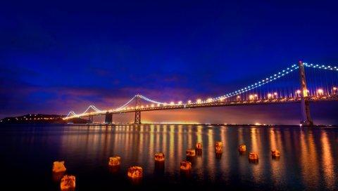 San francisco, огни, мост, ночь, огни города
