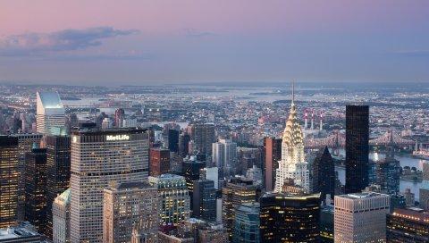 Нью-Йорк, дом, мост, река, здание, город, огни, небо, облака