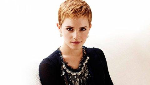 Emma watson, короткие волосы, рыжие волосы, серьги, блузка