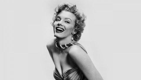 Marilyn monroe, знаменитость, блондинка, улыбка, обаяние, черный белый