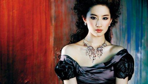 Liu yifei, азиатский, платье, макияж, брюнетка