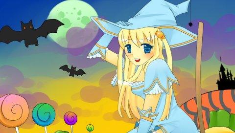 Девушка, шляпа, блондинка, ведьма, тыква