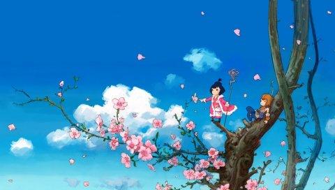 Аниме, дерево, небо, облака
