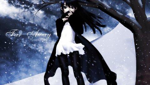 Девушка, брюнетка, зима, холод, снег