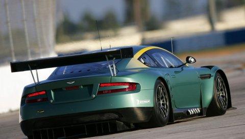 Aston martin, dbr9, 2005, зеленый, вид сзади, стиль, спорт, автомобиль, гоночный автомобиль, асфальт