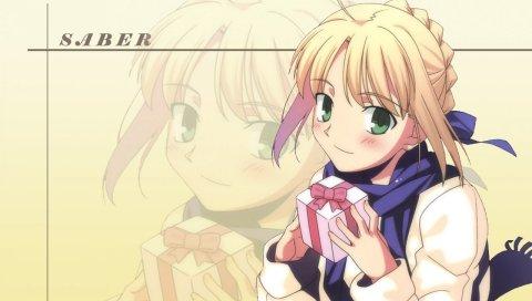 Девушка, блондинка, милый, подарок, ожидание
