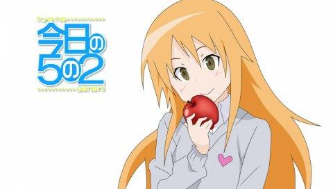 Девушка, блондинка, молодой, яблоко, улыбаясь