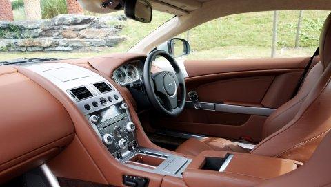 Aston martin, db9, 2010, коричневый, салон, салон, руль, спидометр, кожа