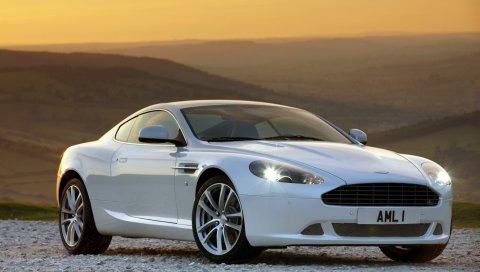 Aston martin, db9, 2010, белый, вид сбоку, стиль, спорт, автомобили, природа, закат