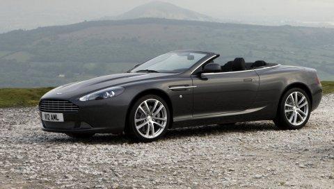 Aston martin, db9, 2010, черный, вид сбоку, стиль, автомобили, спорт, природа, горы