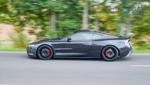 Aston martin, db9, 2004, черный, вид сбоку, стиль, спорт, автомобили, скорость, деревья, асфальт