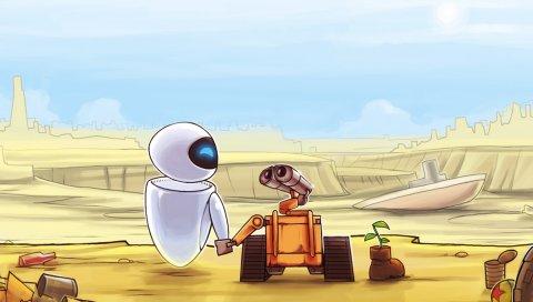 Wall-e, eva, любовь, дружба, растение, жизнь, мультфильм