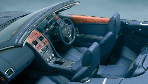 Aston martin, db9, 2004, черный, салон, салон, руль