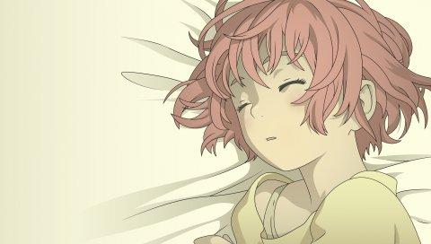 Девушка, брюнетка, сон, постель, тихий