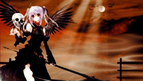 Девушка, череп, коса, крылья, закат