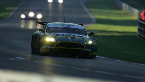 Aston martin, dbr9, 2005, зеленый, вид спереди, стиль, спорт, автомобили, трек, гонки