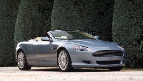 Aston martin, db9, 2004, синий, вид сбоку, стиль, автомобили, кустарники