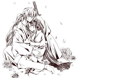 Мальчик, девушка, обнять, снимок, меч