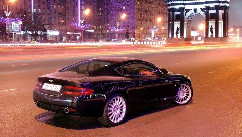 Aston martin, db9, черный, вид сбоку, стиль, автомобили, город, здания, фары, асфальт