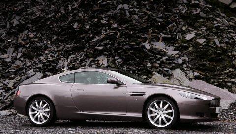 Aston martin, db9, 2004, серый вид сбоку, стиль, автомобили