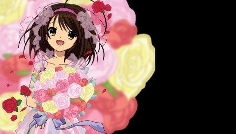Девушка, брюнетка, цветы, букет, улыбка