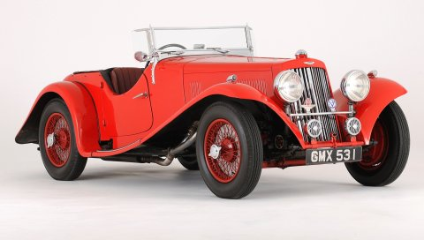 Aston martin, 1937, красный, вид сбоку, стиль, авто, ретро