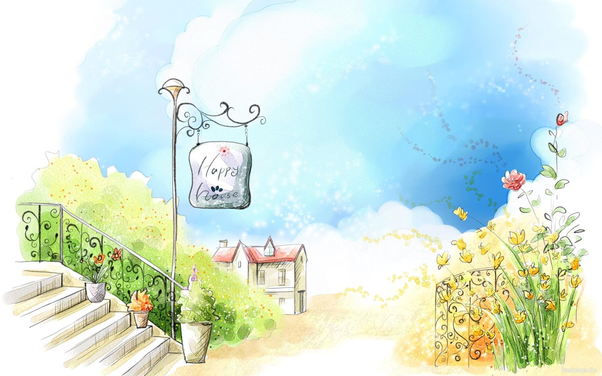 Картинки Дом, лето, цветы, фонарь фото и обои на рабочий стол