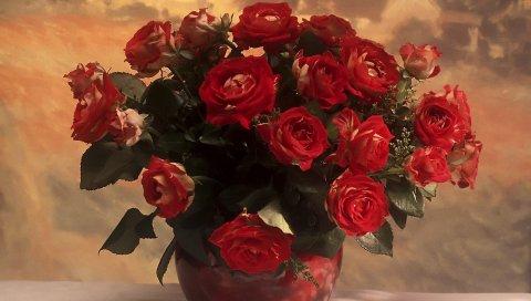 Розы, цветы, букет, ваза, бутон