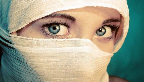 Девушка, глаза, паранья, белый, зеленый