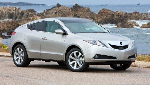 Acura, zdx, 2009, серебристый металлик, вид сбоку, стиль, автомобили, небо, морской серфинг, скалы
