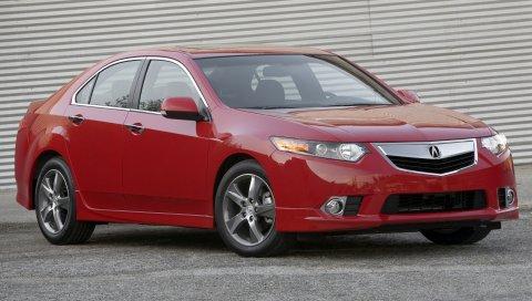 Acura, tsx, 2011, красный, вид сбоку, стиль, автомобили, стены, асфальт