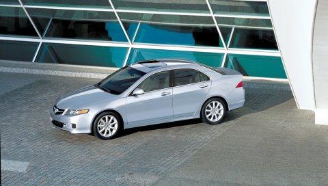 Acura, tsx, 2006, металлическое серебро, вид сверху, стиль, автомобили, здание