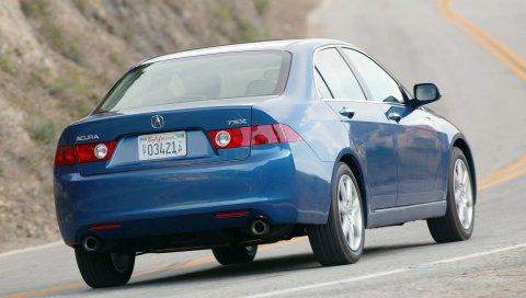 Acura, tsx, 2003, синий, вид сзади, стиль, автомобили, скорость, природа, асфальт