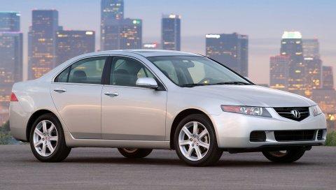 Acura, tsx, 2003, белый, вид сбоку, стиль, автомобили, городские огни, асфальт