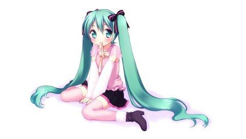 Аниме, hatsune miku, девушка, улыбка, сладкий, волосы